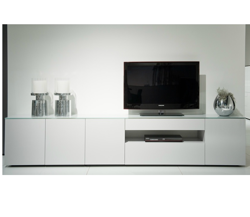 Wonen kasten tv meubelen modern tv dressoir wit glas for Tv dressoir hoogglans wit
