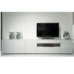 Modern tv dressoir wit glas