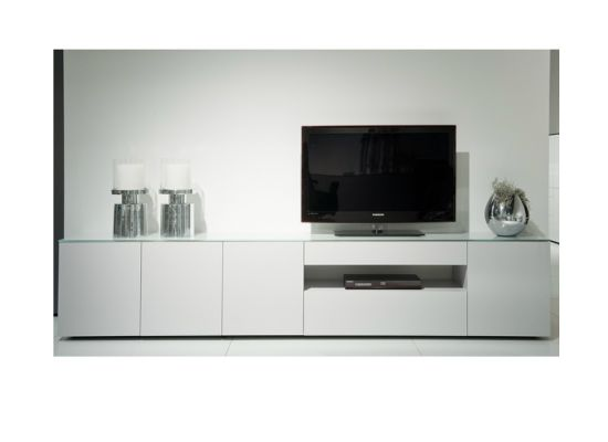 Modern tv dressoir wit glas